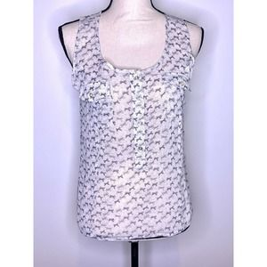 TOMMY HILFIGER Tank Top Size M Sheer Bows Buttons